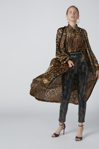 Longline Cardigan with Long Sleeves and Animal Print