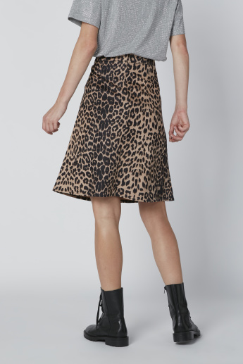 A-Line Midi Skirt with Animal Print