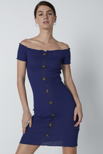 e41cf4b66d0b2 Ribbed Off Shoulder Dress with Button Detail