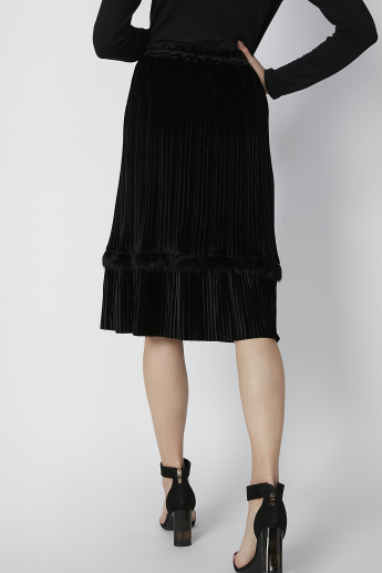 Textured Midi A-Line Skirt with Plush Detail