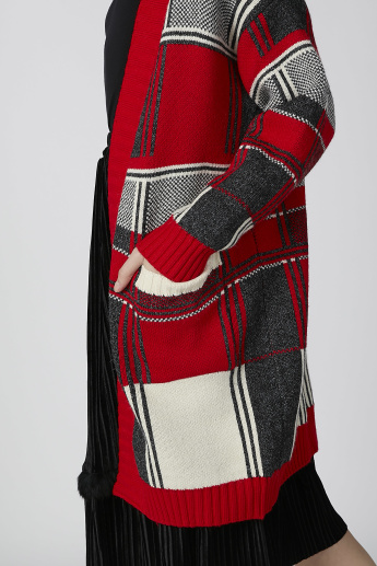 Chequered Longline Open Front Cardigan with Pocket Detail