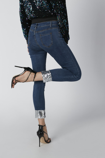 Full Length Mid Waist Jeans in Skinny Fit with Sequin Detail