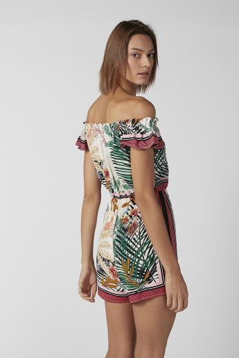 Printed Off Shoulder  Playsuit with Flared Sleeves