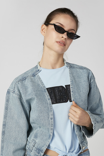 2Xtremz Panelled Denim Jacket with Frayed Neckline and Long Sleeves
