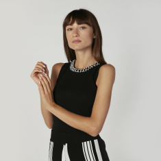 Pearl Detail Sleeveless Top with Round Neck