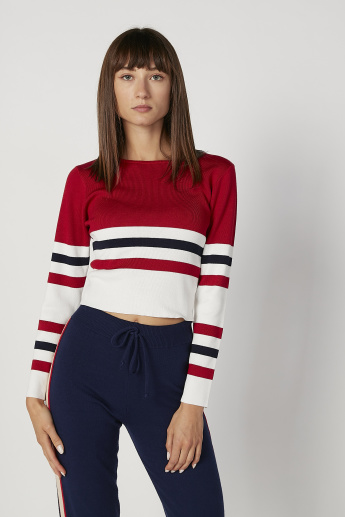 Skinny Fit Striped T-shirt with Round Neck and Long Sleeves