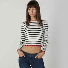 Skinny Fit Striped Crop T-shirt with Crew Neck and Long Sleeves