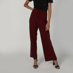 Wide Fit Textured Flexi Waist Palazzo Pants with Elasticised Waistband
