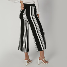 Striped Flexi Waist Culottes with Elasticised Waistband
