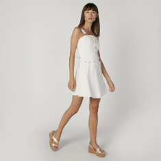 Pearl Detail Mini Skater Dress with Zip Closure and Pockets