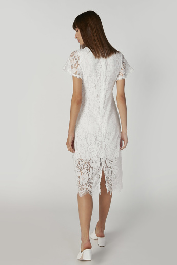 Lace Midi A-line Dress with Short Sleeves and Flap Pockets