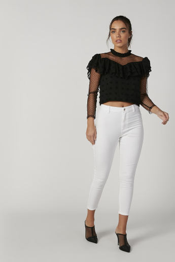 Skinny Fit Textured Top with High Neck and Long Sleeves