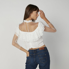 Skinny Fit Lace Detail Crop Top with High Neck and Long Sleeves