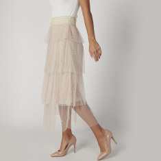 Textured Maxi A-line Skirt with Elasticised Waistband
