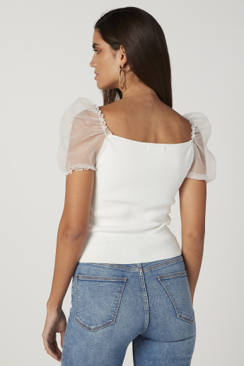 Skinny Fit Textured Top with Boat Neck and Puff Short Sleeves