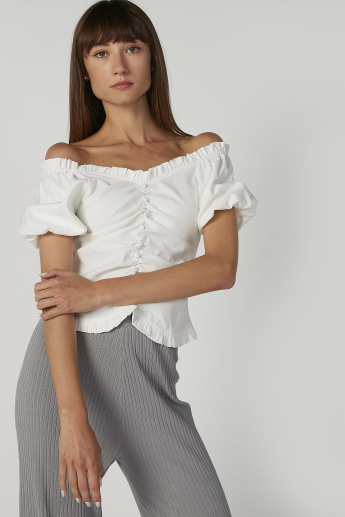 Skinny Fit Plain Top with Bardot Neck and Short Sleeves