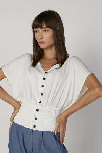 Plain Top with V-neck and Smocking Detail