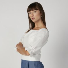 Slim Fit Plain Top with Boat Neck and 3/4 Sleeves