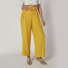 Plain Mid Waist Palazzo Pants with Metallic Accent