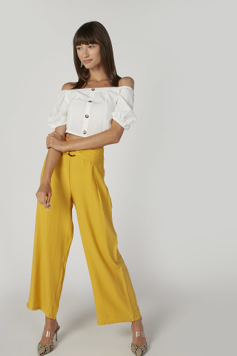 Slim Fit Plain Crop Top with Bardot Neck and Short Sleeves