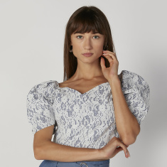 Textured Crop Top with V-neck and Short Sleeves