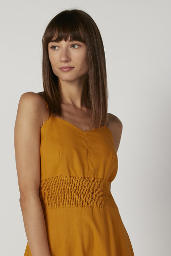 Textured Dress with V-Neck and Straps