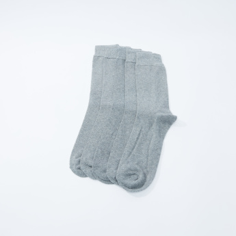 Set of 5 - Plain Crew Length Socks with Cuffed Hem