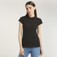 Solid Polo Neck T-shirt with Cap Sleeves