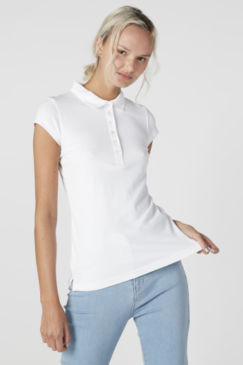 Polo Neck Top with Cap Sleeves