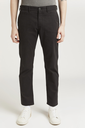 Full Length Button Closure Trousers with Pocket Detail