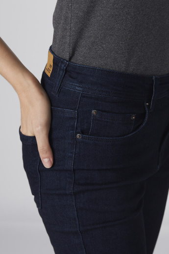 Pocket Detail Jeans in Skinny Fit with Button Closure