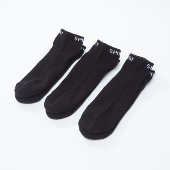 Set of 3 - Textured Ankle Length Socks with Printed Hem