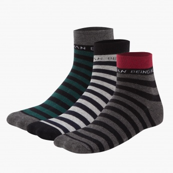 Being Human Striped Cotton Ankle Socks - Set of 3
