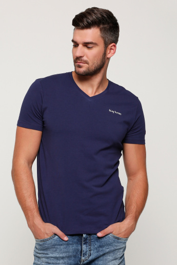 Being Human Printed V-Neck T-Shirt with Short Sleeves