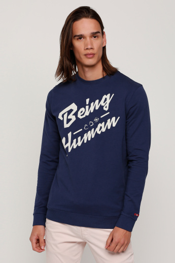 42832929 Being Human Printed T-Shirt with Round Neck and Long Sleeves | Blue