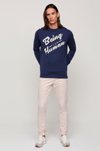 Being Human Printed T-Shirt with Round Neck and Long Sleeves