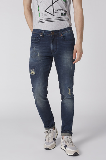 Being Human Distressed Jeans with Pocket Detail and Button Closure