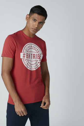 Being Human Printed T-Shirt with Short Sleeves and Round Neck