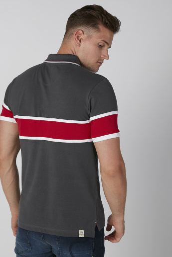 Being Human Striped T-shirt with Polo Neck and Short Sleeves