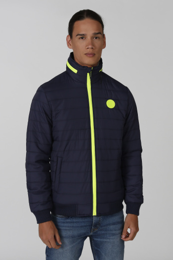 Being Human Quilted Bomber Jacket with Ribbed Hems