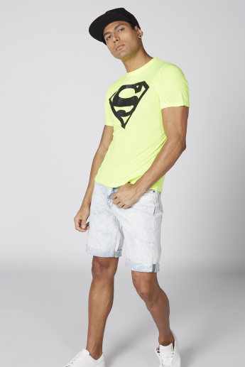 Superman Printed T-Shirt with Round Neck and Short Sleeves