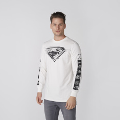 Superman Printed Sweatshirt with Crew Neck and Long Sleeves