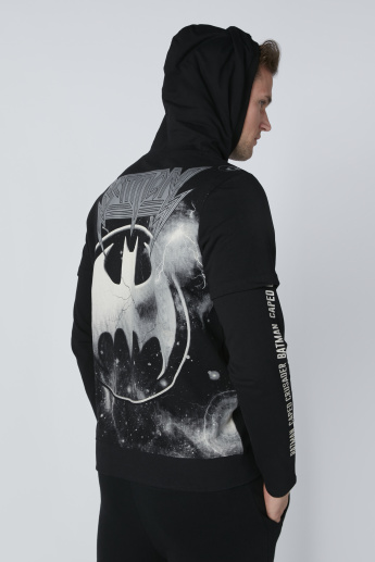Batman Printed Sweatshirt with Hood and Long Sleeves