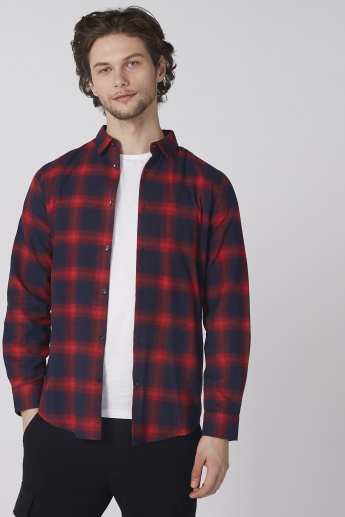 Mickey Mouse Chequered Shirt with Long Sleeves and Complete Placket