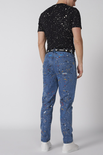 Mickey Mouse Printed Distressed Jeans with Pocket Detail