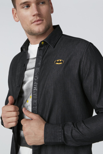 Batman Printed Shirt with Long Sleeves