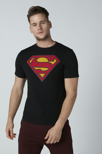 Superman Printed T-Shirt with Crew Neck and Short Sleeves
