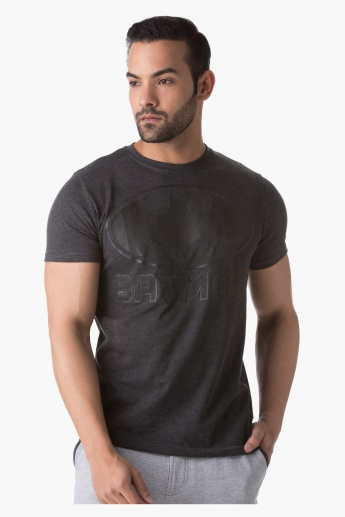 Batman Print T-Shirt with Round Neck and Half Sleeves