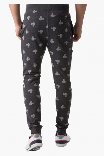 Mickey Mouse Print Jog Pants in Slim Fit