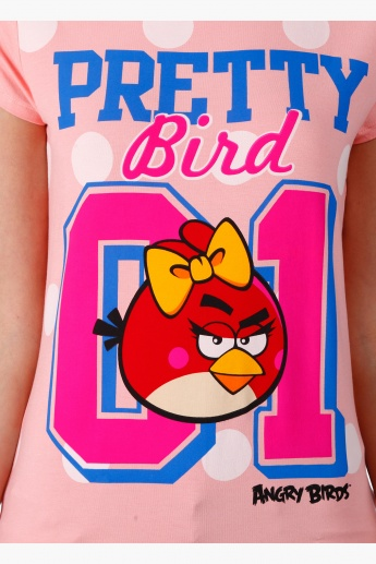 Angry Birds Printed T-Shirt with Half Sleeves in Regular Fit
